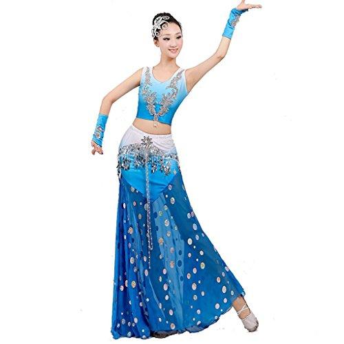 Wgwioo ethnische minderheit pfau Tanz kostüme Fisch Schwanz Rock Leistung Moderne Pailletten Frau chor bühne national, Blue, XXXL (Irische Tanz Kostüm Für Erwachsene)