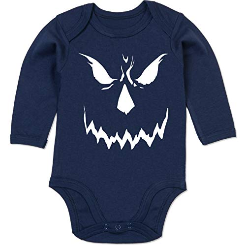 Shirtracer Anlässe Baby - Scary Smile Halloween Kostüm - 12-18 Monate - Navy Blau - BZ30 - Baby Body Langarm