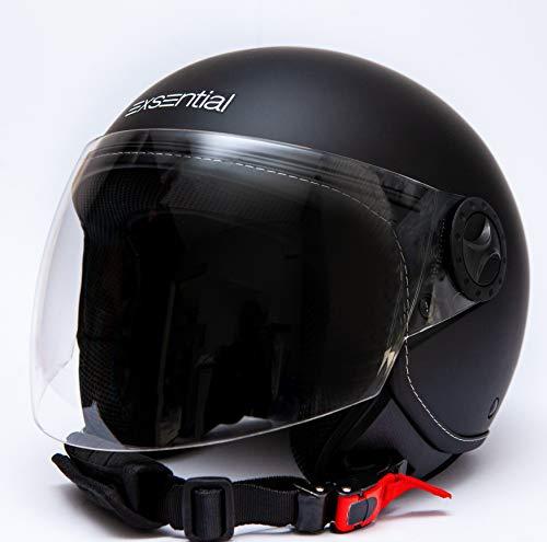 Exsential EX 730 VL Casque demi-jet noir mat pour scooter et moto, taille M