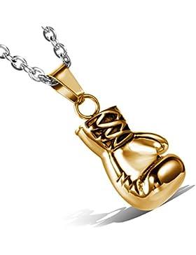 cupimatch Gothic Punk Gold Ton Edelstahl Anhänger Boxhandschuh Halskette mit 55,9cm Kette Cool Weihnachten Valentine...