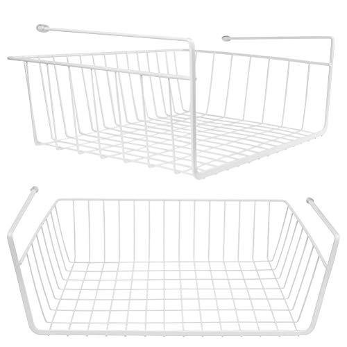 Lawei 2er Set Hängekorb Regaleinhängekorb aus Metall, Schrankkorb Regal für Küchenschrank Kleiderschrank Aufbewahrungs-Korb - Weiß