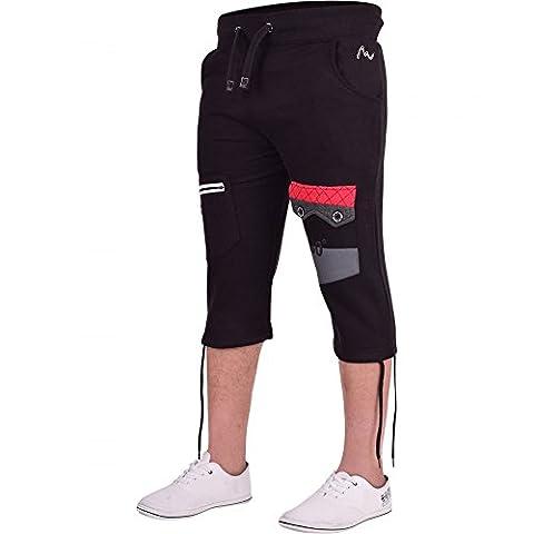 Mens 360 Long Cargo Combat Fleece 3/4 Length Shorts Casual Gym Cotton Zip Pocket Medium Black