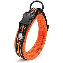 ZEEY Cuello de seguridad suave de la noche de malla transpirable, 3M Night Reflective Stripes, collar ajustable para perros pequeños / medianos / grandes, naranja (M (40-45cm))