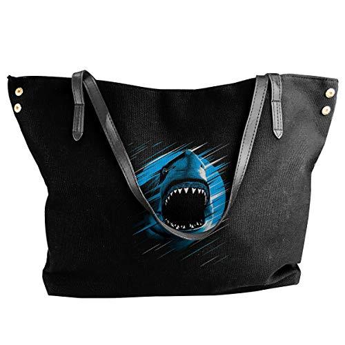 Jiaojiaozhe Shark Moon Lines Women's Classic Shoulder Portable Big Tote Handbag Work Canvas Bag -