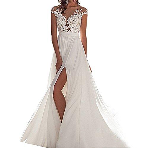 ANJURUISI Einfache Chiffon Strand Brautkleider Brautkleider F¨¹r Hochzeiten Elfenbein-46 Plus