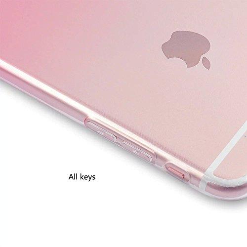 """MOMDAD Coque iPhone 7 Etui iPhone 7 Transparent Coque [absorbant les chocs] Clear Souple Bumper en TPU Couverture Arrière Flex Soft Skin Extra Slim TPU Case Coque Housse Étui pour Apple iPhone 7 4.7""""  JB-TPU-Rose"""