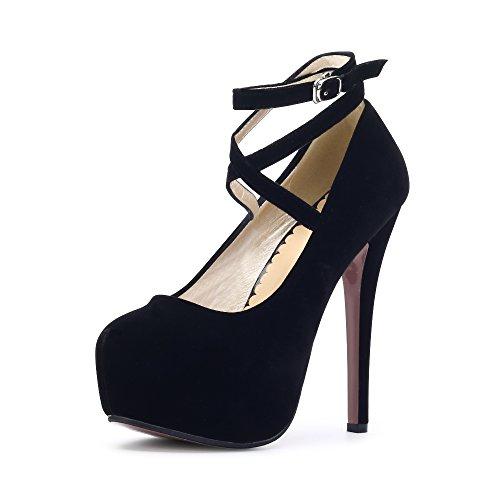 OCHENTA Moda Nuevo Zapatos con tacon alto para mujer plataforma Negro 35