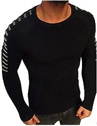 JiaMeng Hombre Manga Larga Sudadera Suéter de Manga Larga de Invierno de Punto sólido Jerseys Blusa