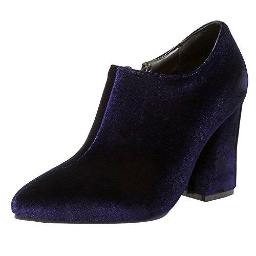 Tornozelo Elegante Botas Bloco Zipper Senhoras De Sapatos Mee Calcanhar Azul vxqfwPO8xU