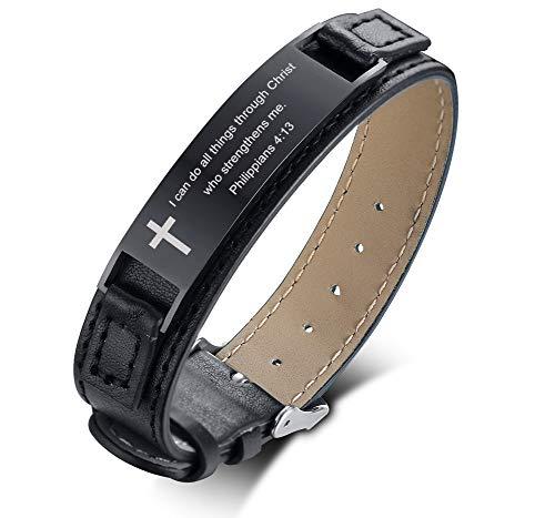 PJ JEWELRY Ich kann Alles durch Christus tun, der Mich stärkt. Philippian 4:13 Inspirational Leather Bracelet, Black