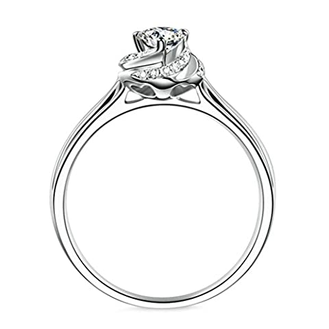 GnZoe Women Wedding Bands Silver Heart Shaped Cubic Zirconia Solitaire Promise Ring Bands For Her Size