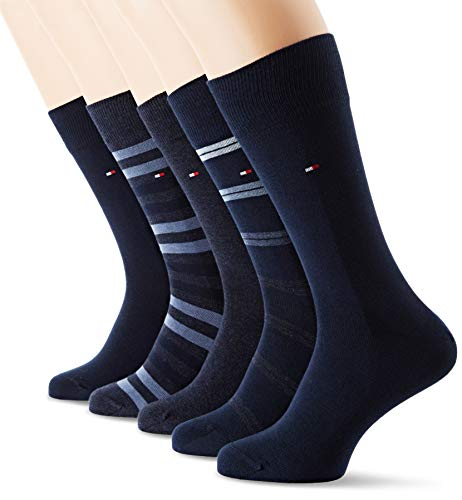 Tommy Hilfiger Herren TH Men Duo Stripes Box 5P Socken, Blau (Dark Navy 322), 43/46 (5erPack) -