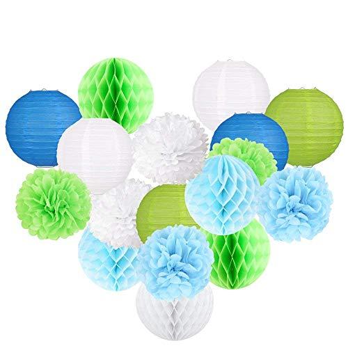 rlaternen, Papierwaben und Seidenpapier Pom Poms Set, Pack von 18 (blau, grün und weiß) Papier Handwerk für Geburtstag oder Hochzeit Dekorationen ()