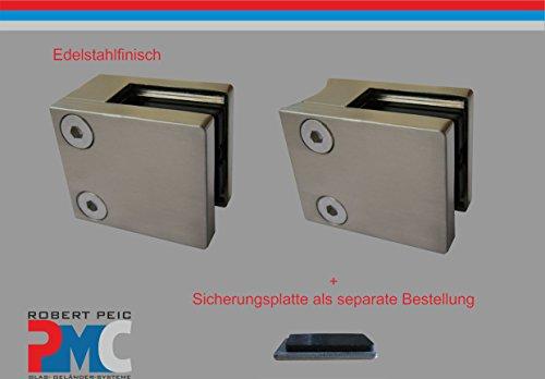 PMC Edelstahlfinisch Glashalter Anschluss flach Glasklemme Edelstahloptik Glass Clamp MOD:08; 12,76 mm