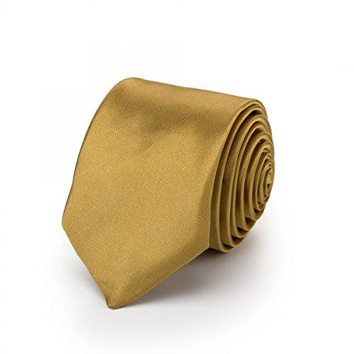 Krawatte schmal/dünn 3cm-5cm für Herren [auch für Kinder/Jungen] (uni,nicht gestreift) aus Polyester glänzt wie Seide - GOLD