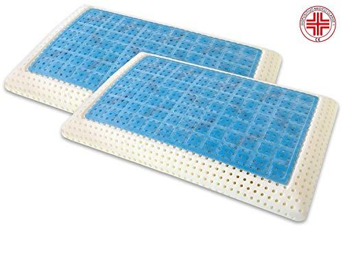 Marcapiuma - Pack de 2 Almohadas Viscoelásticas Memory Gel 70 cm Modelo Jabón Perforado con Funda...