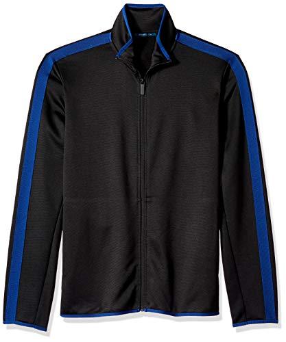 Perry Ellis Herren Colorblock Logo Full Zip Knit Sweatshirt, Black/Dhk, Groß - Zip Knit Jumper