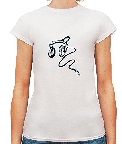 Mesdames T-Shirt avec Noir et bleu écouteurs imprimé. Blanc