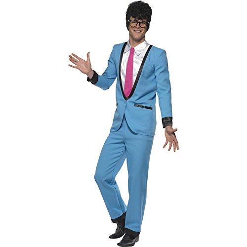 Smiffys, Herren Teddy Boy Kostüm, Hose, Jackett mit Mock Hemd und Krawatte, Größe: M, (Ideen Kostüm Blau Rock)