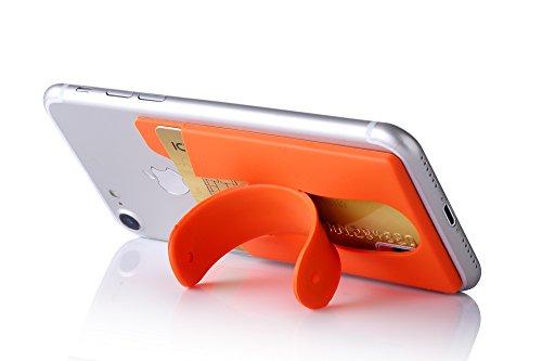 Kronya® | Smartphone Kartenhalter mit Ständer | Auto Case Etui Finger Fitness Geldbeutel Geldbörse Halter Halterung Handy Hülle Kopfhörer Sport Apple iPhone 7 8 X Samsung Galaxy S8 (Orange)