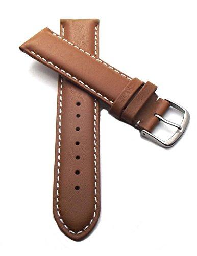19 mm Uhrenarmband Kalbsleder mit weißer Naht braun, Uhrenband Uhren Leder Armband (19mm Uhrenarmband Lange)