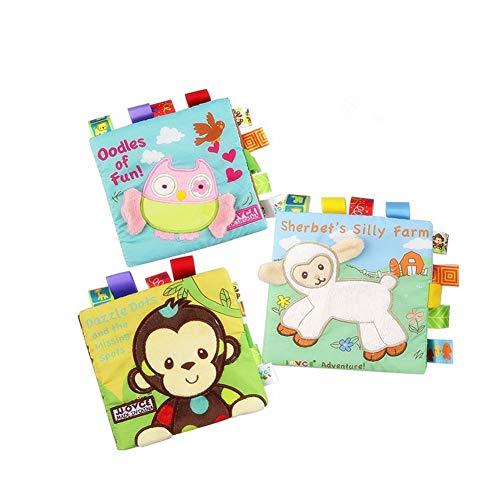 HOWADE Libri di stoffa per bambini, tessuto attività non tossiche Libro morbido a grinze precoci Giocattoli educativi per neonati e bambini - Libro di sviluppo attività durevole (confezione da 3)
