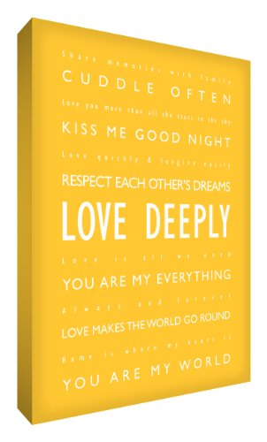 "Feel Good Art Kunstdruck auf dicker Leinwand,""Love Deeply"", englischsprachiger Text, A4, 30,5 x 20,3 cm, Gelb"