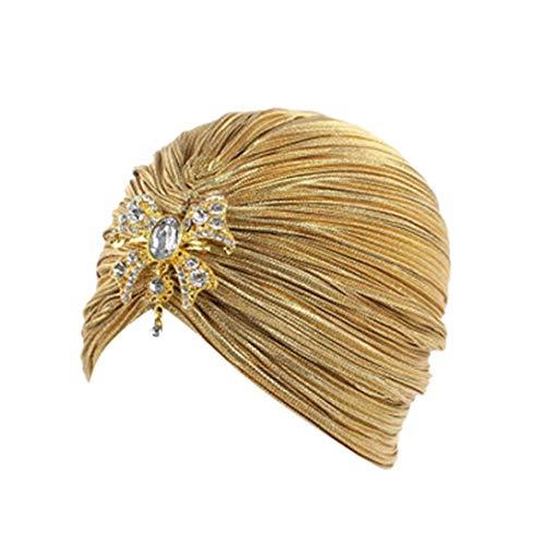 MODEOR Women India Muslim Stretch Bright Pendant Wrinkled Thread T Hat Head Scarf Wrap Cap (Yellow)
