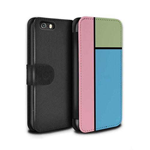 Stuff4 Coque/Etui/Housse Cuir PU Case/Cover pour Apple iPhone 5/5S / 5 Carreaux/Rouge Design / Carreaux Pastel Collection 3 Carreaux/Bleu