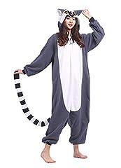 Idea Regalo - DELEY Unisex Adulto Animale Pigiama Caldo Onesies Pigiama Cosplay Homewear Anime Costume Lemure Taglia S