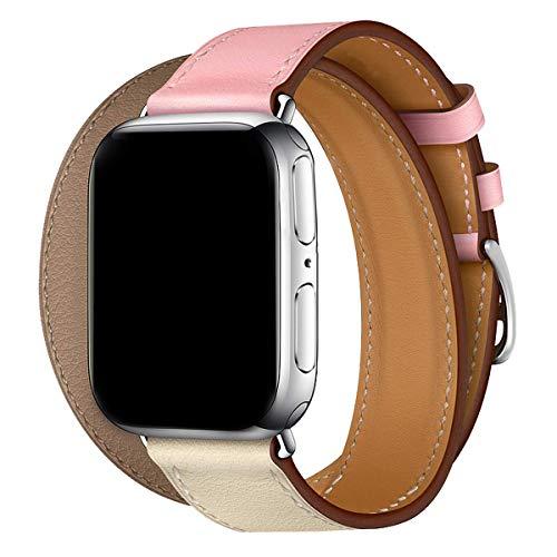 MroTech Armband 44mm 42mm Watch Band Lederarmband echtes Leder Uhrenarmband Ersatzen Armbänder für Smartwatch Serie 1 2 3 4 Nike+ Hermes&Edition Double Tour Loop 42/44 mm Light-Kaffee Rosa Craie