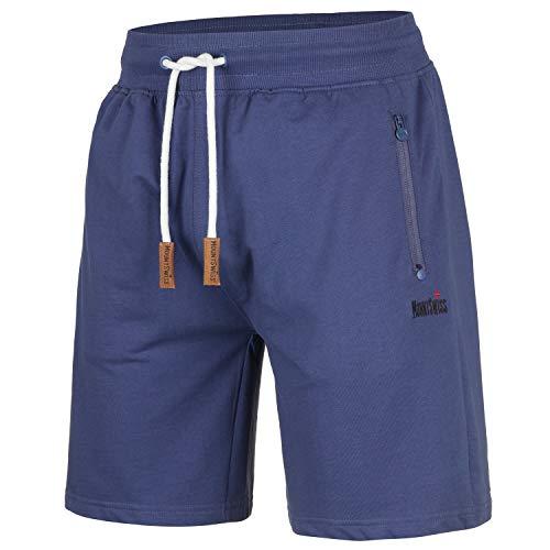 Mount Swiss Herren Freizeit-Shorts Liam/Kurze Hose/Jogginghose/Sweatpants aus 100{5926e8d8e724b8bf9b17d663f4e2179be84cd6197377c64f3a7e0b3a84834a99} Baumwolle, Blau, XL
