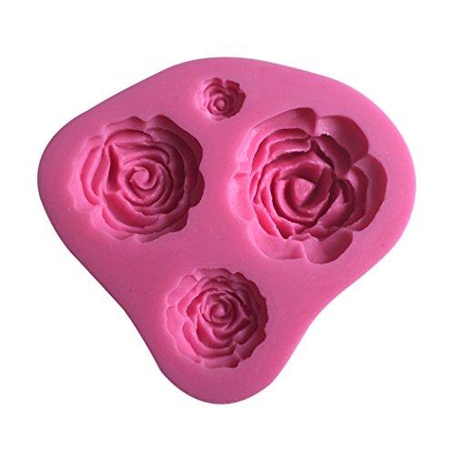Karen Baking Rosen-Blume Geformt 3D Silikon-verzierender Schokoladen-Kuchen-Form-Fondant-backendes Werkzeug-Rosa