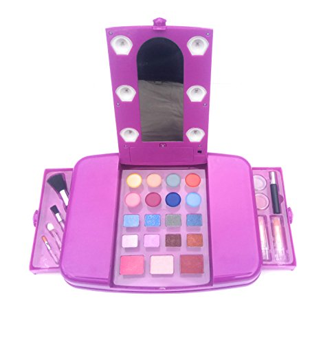 Kinder Make Up Fun 28 Stück Set Safe Kosmetik für Kinder mit Licht und Spiegel