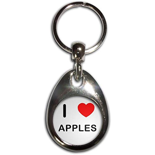 BadgeBeast.co.uk I Love Heart Apples - Chrome tropfenförmigen doppelseitigen Schlüsselanhänger Chrome Apple
