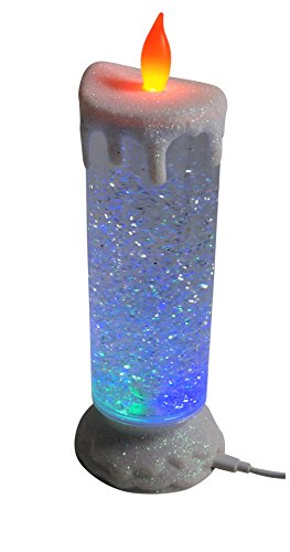 Candela multicolore a led con liquido e porporina in movimento a forma candele natalizia (bianca)