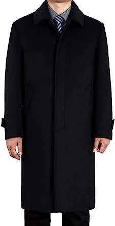 Vogstyle Men's Turn-Down Collar Casual Woolen Coat Winter Long Jacket Single Breasted Overcoat