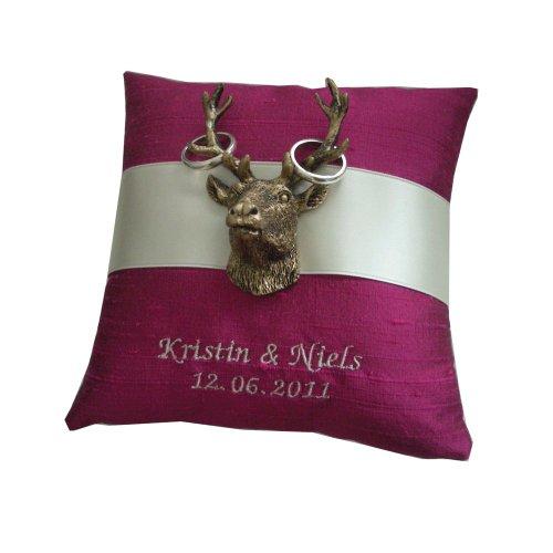 Ringkissen-Shop Ringkissen Hirsch Satinband bestickt - Name & Datum, in verschiedenen Farben | Handarbeit 17x17cm Kissen: offwhite (creme), Band: rose