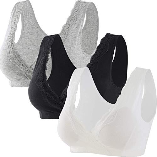 ZUMIY Baumwolle Still BH, Damen Lace Cotton Nursing BH für Schwangerschafts und Stillen (XL/85B 85C 85D, Black+Grey+White/-3pk) -