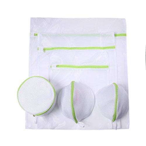 DoGeek Wäschenetz Für Waschmaschine Wäschesack Wäschebeutel für Dessous, Socken, Strumpfhosen, Strümpfe und Baby Kleidung 6 Stück (Weiß-Grün)