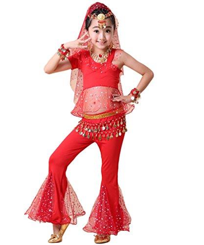 Anguang Kinder Mädchen Ein Ärmel Crop Top Bauchtanz Ägypten Hosenanzug Mesh Kostüm Rot#5 S