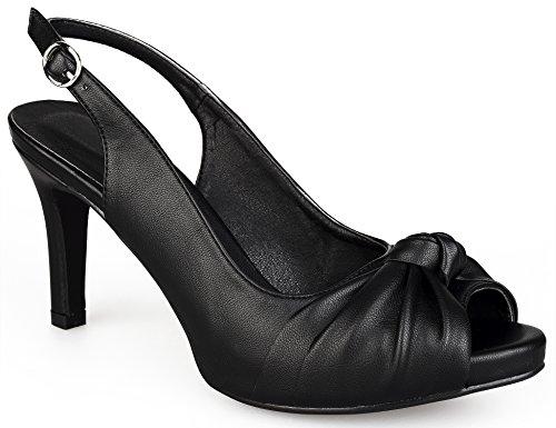 MaxMuxun Damen Pumps Peep Toe Slingback Schleife Sandalen Party Schuhe Schwarz Größe 39EU Peep Toe Slingback Schuhe