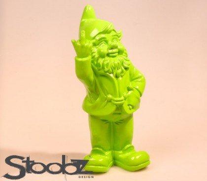 Stone-Lite Figur - Gartenzwerg mit Stinkefinger - 20 cm - grün - lustiges Geschenk
