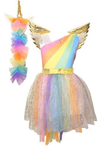 La Senorita Einhorn Kleid Unicorn Kleid + GRATIS Haarreif und Kette - Tutu Kinder Kostüm Prinzessin Kleid Regenbogen Verkleidung Mädchen (Größe 128/134 (L) 6/7 Jahr)