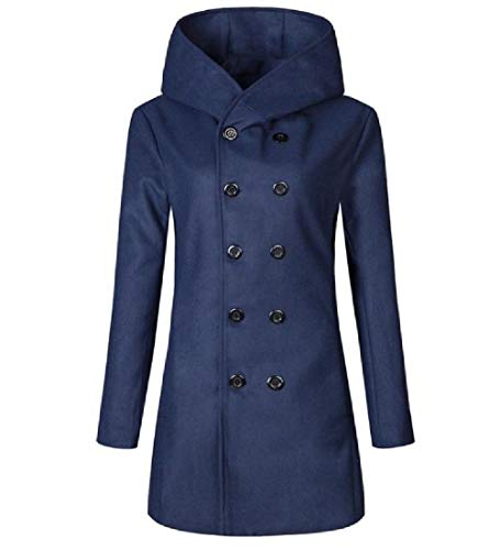 CuteRose Men Classic Fall Winter Warm Double Breasted Relaxed Jacket Coat Navy Blue XL (Double Breasted Pea Coat Dress)
