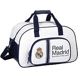 Safta 711654273 Real Madrid Bolsa de Deporte y Viaje, Color Blanco