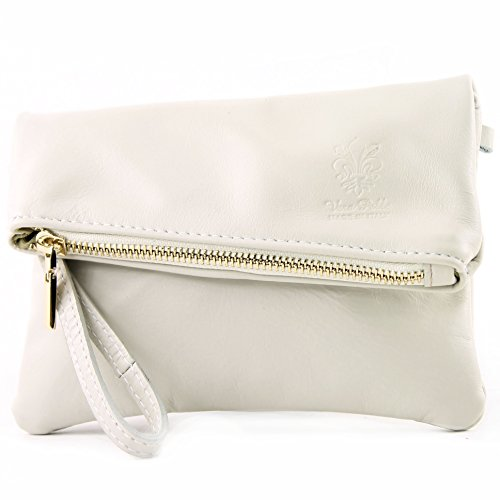 modamoda de -. ital petites dames de sac d'épaule de sac en cuir d'embrayage poignet Sac en cuir T95, Präzise Farbe (nur Farbe):Grauweiß
