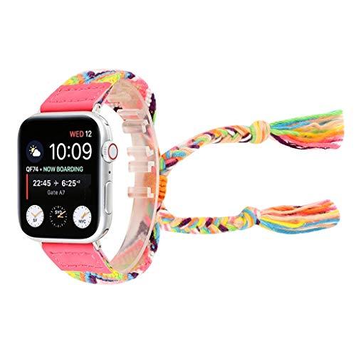Waotier für Apple Watch Armband 40mm Wolle Bunte Musterband Böhmien Style Armband Ersatzband für iWatch Series 4 Armband Damen Veränderbar Handgelenk Sommer Armband für Damen Kinder (Muster D)