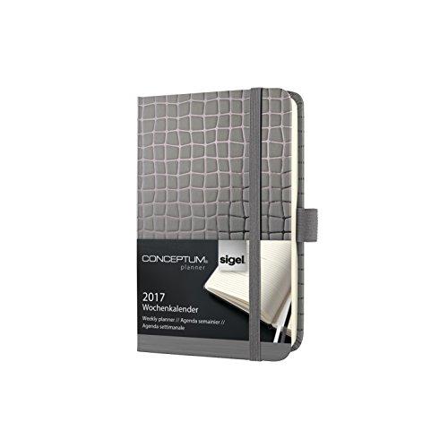 Sigel C1743 Wochenkalender 2017, ca. A6, Hardcover anthrazit, CONCEPTUM - weitere Designs