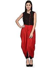 Patrorna Women's Black Red Designer Kimono Suit And Black Chudidar Set (Size S-7XL )